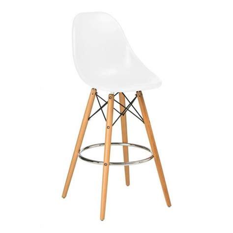 chaise haute blanche chaise haute de bar design blanche pied en bois et assise