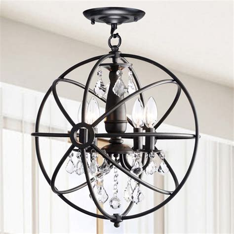 How To Remove Chandelier Benita Antique Black 4 Light Iron Orb Flush Mount Chandelier By The Lighting Store