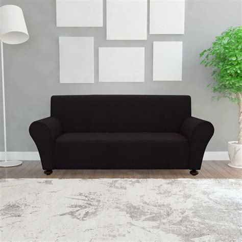 black couch slipcover vidaxl stretch couch slipcover black polyester jersey
