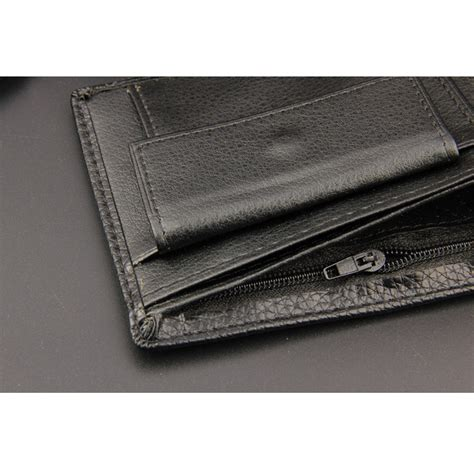 Bifold Coin Wallet black slim leather coin zipper pocket wallet bifold