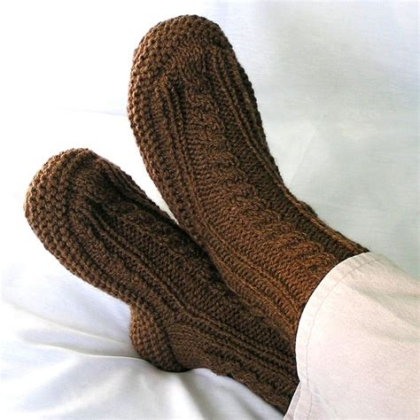 mens knitted slipper socks mens knitted slippers nutmeg brown cuffs with by knitwit4ever