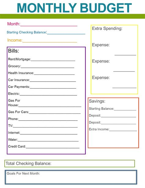 money planner template monthly family budget budgeting organizations and