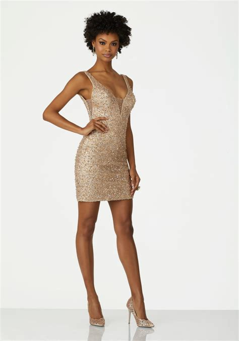 fully beaded jersey dress with illusion inset v neck