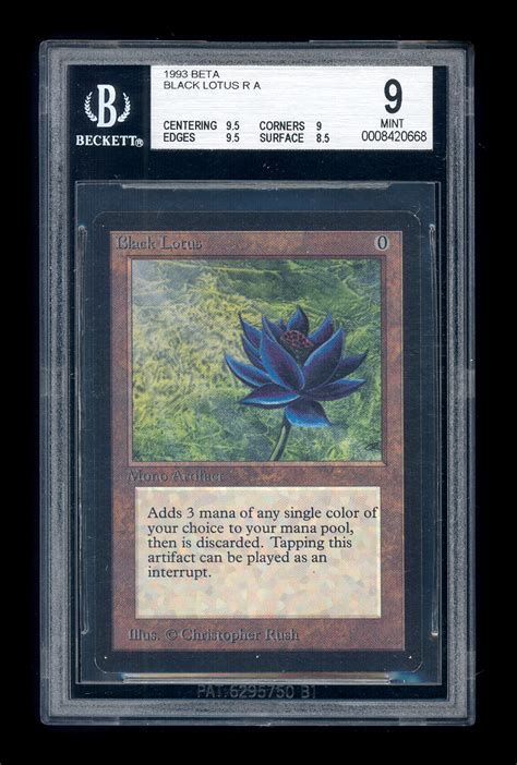 magic gathering black lotus mtg magic the gathering beta black lotus bgs 9 mint solid