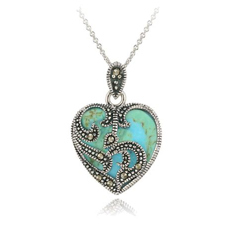 925 sterling silver marcasite turquoise necklace