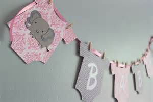 pink and grey elephant baby shower decorations elephant baby shower banner it s a pink and gray