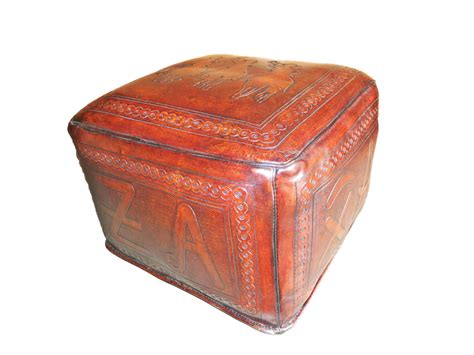 tooled leather ottoman tooled leather large square ottoman with posse and brand