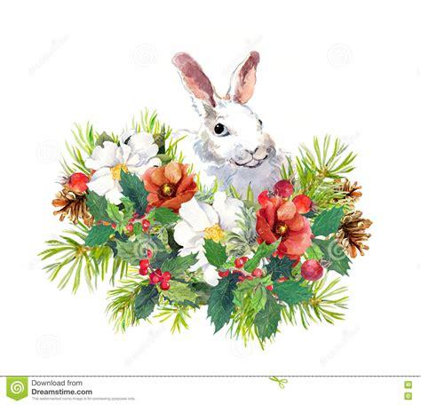 afbeelding bloemen met dier de winterkonijn bloemen pijnboomboom maretak