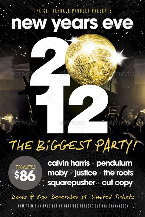 New Years Eve Flyer Template By Furnace Graphicriver New Years Ticket Template