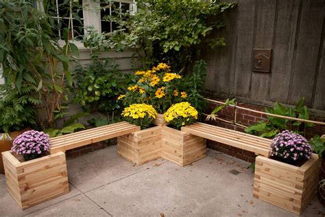 garden bench with planters diy outdoor bench with storage cushion and back