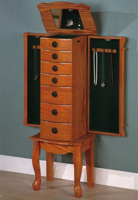 jewelry armoire light oak style light oak jewelry armoire box 900135 coaster