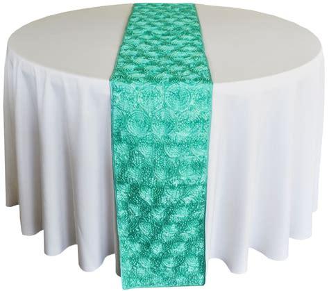 Aqua Table Runner by Blue Aqua Satin Rosette Wedding Table Runners Sale