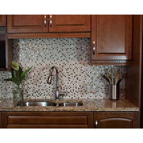 Decorative Kitchen Backsplash Tiles Smart Tiles Minimo Cantera 11 55 In W X 9 64 In H Peel And Stick Decorative Mosaic Wall Tile