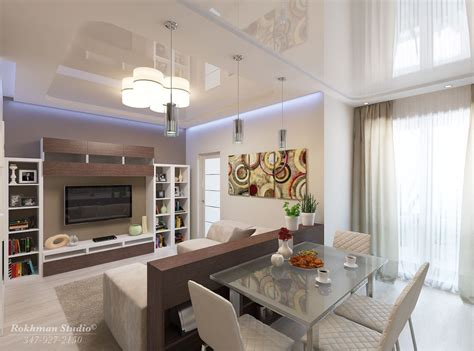 apartment living room dining combo rendering  living