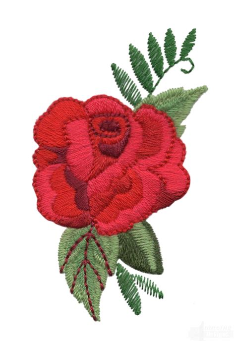 embroidery design rose flower single red rose embroidery design