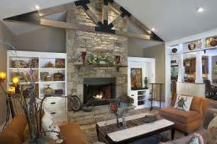 Home Interiors Candle Holders by Eclectic Living Room With High Ceiling Amp Stone Fireplace