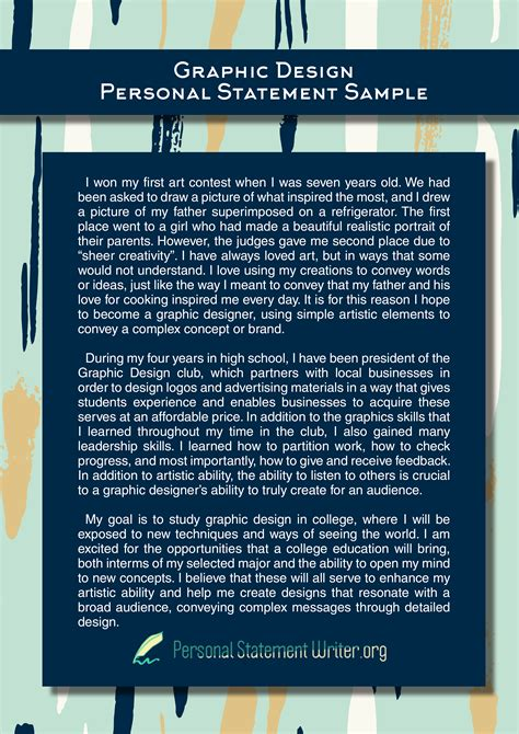 graphic design personal statement writing to make you