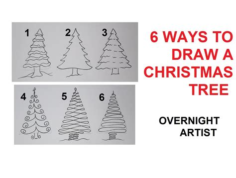 how to draw christmas trees 6 easy ways to draw xmas