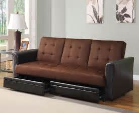 Futon Sofa Bed With Storage Chocolate Microfiber Adjustable Sofa Bed Futon With Storage Drawer Cup Holder Lowest Price