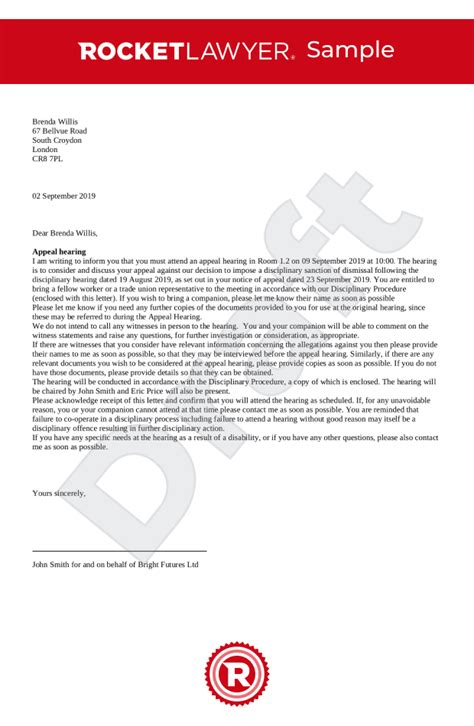 disciplinary appeal letter misconduct uk template