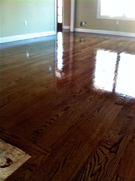 Glossy Wooden Floor by High Gloss Special Walnut Stain Wood Floors