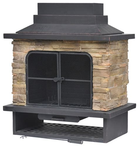 Outdoor Metal Fireplaces - garden treasures brown steel outdoor wood burning fireplace contemporary outdoor fireplaces