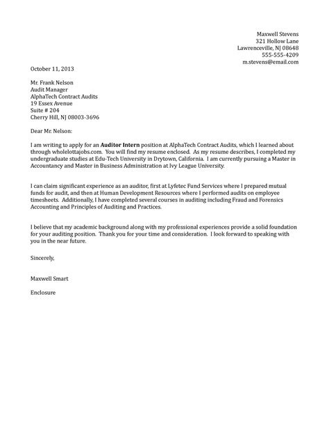 Auditor Intern Cover Letter Sample