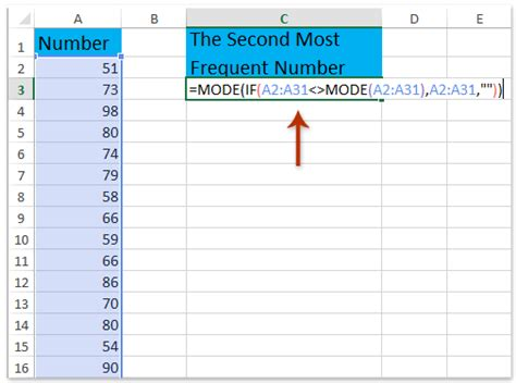 How To Search On Second How To Find The Second Most Common Frequent Number Or Text In Excel