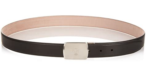 dunhill silver buckle leather belt in black for lyst