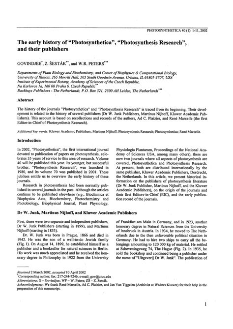 photosynthesis research paper the early history of photosynthetica pdf