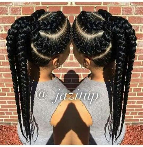 easy big braids bulky cornrows pony hair pinterest goddess braids