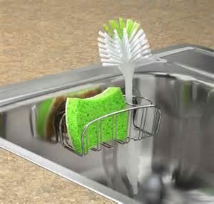 dish brush holder chrome in sink organizers