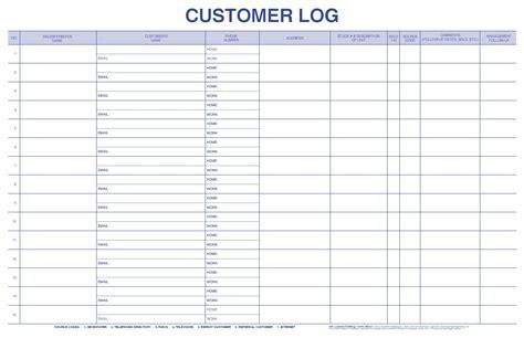 Customer Log Sheet Template Customer Log Bpi Dealer Supplies