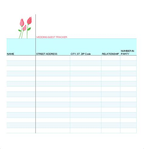 wedding guest list template 10 free sle exle