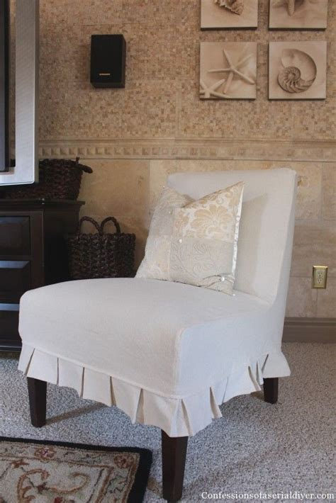 armless slipper chair covers slip covering an armless accent chair great tutorial