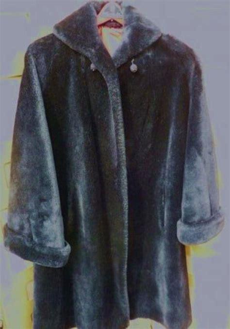 swing car coat vintage black faux fur jacket swing style car coat size