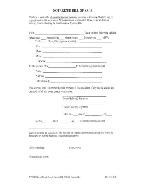 Notarized Boat Bill Of Sale Form Wyoming Free Download Notarized Bill Of Sale Template For Car