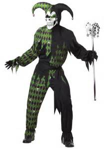 Scary Halloween Costumes For Men Mens Green Scary Jester Costume