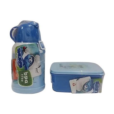 Set Peralatan Makan Untuk Piknik Dan Bekal Anak Sekolah jual technoplast smurf lunch box set peralatan makan biru harga kualitas terjamin