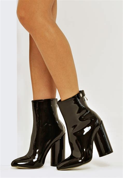 Block Heel Ankle Boots alison block heel ankle boots black patent boots