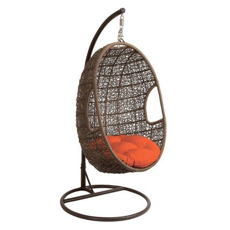 brown metal rattan hanging chair swing ebay