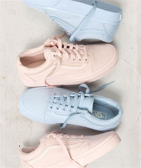 light blue and pink vans vans mono canvas skool pack blush and skyway