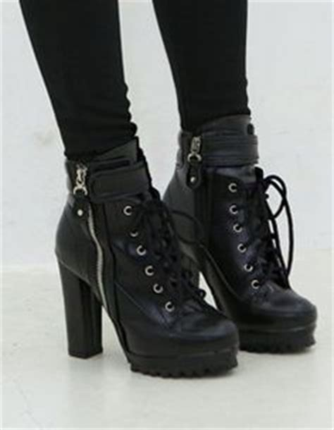 high heeled combat boots via polyvore featuring shoes
