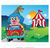 Circus Clipart Of A Blue Haired Clown Driving Car By