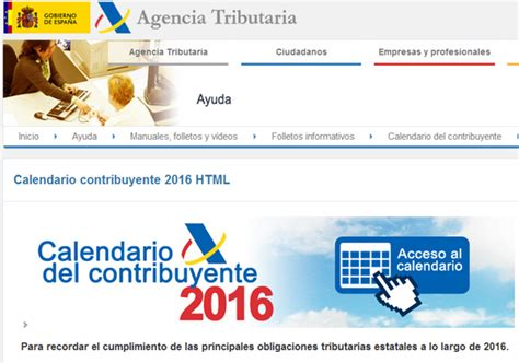 Calendario Hacienda 2015 Calendario Declaraci 243 N De La Renta 2016 Ejercicio 2015