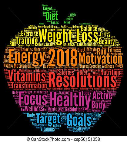 healthy resolutions 2018 word cloud stock illustrations