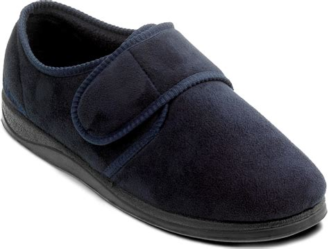 mens slippers wide fit padders charles mens wide fitting velcro slipper