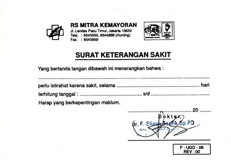 contoh surat resign dari rumah sakit contoh u