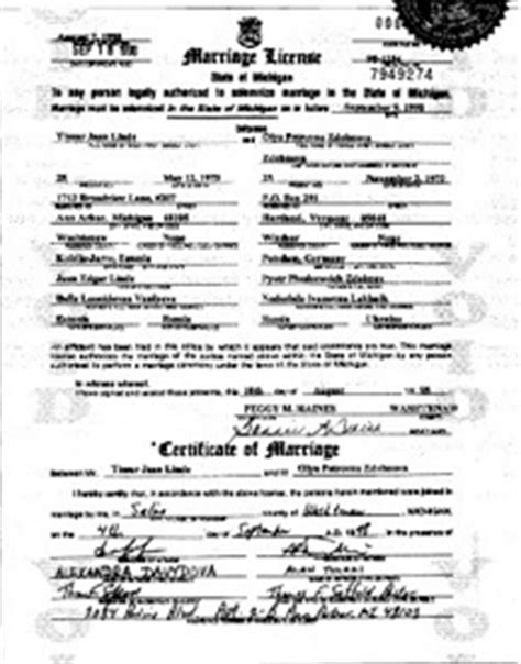 Michigan Marriage License Records Michigan Apostille