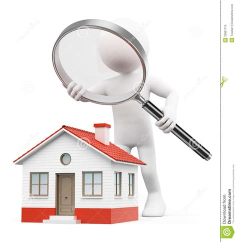 3d white looking for house stock photo image